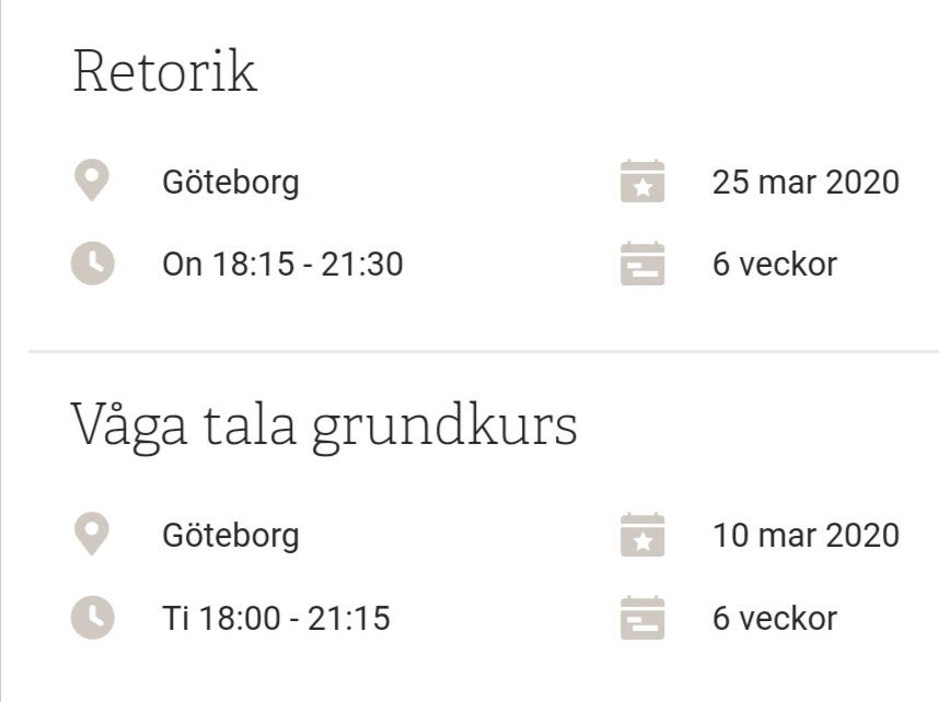 Vår! Poesi, Våga tala och retorikkurs i Göteborg